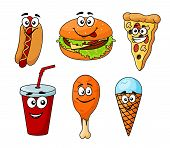Colorful cartoon set of fast food icons