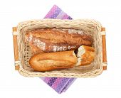 Homemade french bread. Isolated on white background