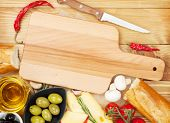 Empty cutting board for copy space and various food