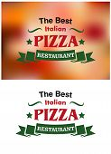Italian pizza restaurant banners and labels