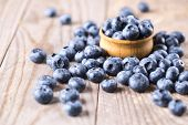 bowl of blueberries on wooden background