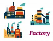 Flat factories icons
