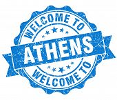 Welcome To Athens Blue Vintage Isolated Seal