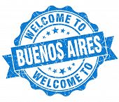 Welcome To Buenos Aires Blue Vintage Isolated Seal
