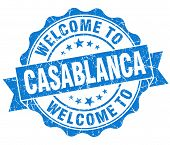 Welcome To Casablanca Blue Vintage Isolated Seal