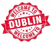 Welcome To Dublin Red Vintage Isolated Seal