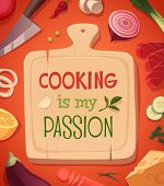 Cooking card \ poster design. Vector illustration