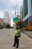 NYPD Traffic Control Police Officer near Freedom Tower in Manhattan