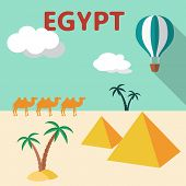 Egypt Travel flat design illustration