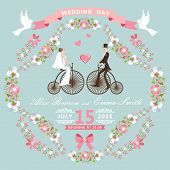 Vintage Wedding Invitation.floral Frame, Bride, Groom,retro Bike