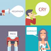 Mass Media Symbol Megaphone Speech Bubble Cry Man Boy Press Hand Typewriter Journalist Female Girl I