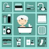 stock photo of baste  - Set of vector icons of bathroom and personal care - JPG