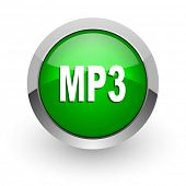 mp3 green glossy web icon