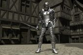 Medieval Knight in a Street Scene poster