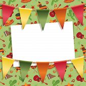 picture of mexican fiesta  - mexican party card decoration with background pattern bunting and card for your text with clipping path and transparencies - JPG