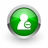 remove contact green glossy web icon