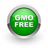 gmo free green glossy web icon