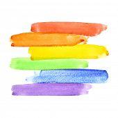 Painted rainbow watercolor brush strokes