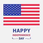Happy Independence Day United States Of America. 4Th Of July. White Background.
