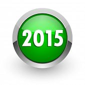 new year 2015 green glossy web icon