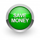 save money green glossy web icon