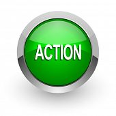 action green glossy web icon