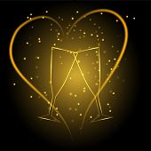 Wedding glasses with heart in gold color