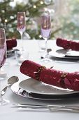 Christmas crackers on dining room table