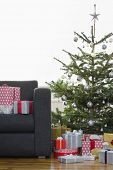 Christmas presents by tree and sofa in living room