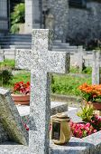 Small cemetery in Italy on summer day
