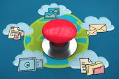 Digitally generated red push button against cloud computing doodle