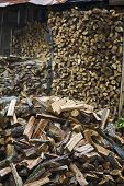 Stack of chopped firewood with wood shed in background