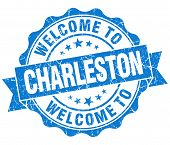 Welcome To Charleston Blue Vintage Isolated Seal