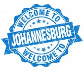 Welcome To Johannesburg Blue Vintage Isolated Seal