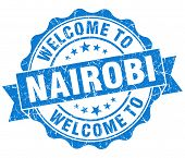 Welcome To Nairobi Blue Vintage Isolated Seal