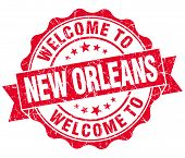 Welcome To New Orleans Red Vintage Isolated Seal