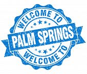 Welcome To Palm Springs Blue Vintage Isolated Seal