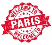 Welcome To Paris Red Vintage Isolated Seal