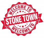 Welcome To Stone Town Red Vintage Isolated Seal