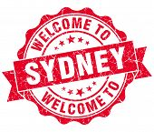 Welcome To Sydney Red Vintage Isolated Seal