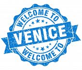 Welcome To Venice Blue Vintage Isolated Seal