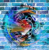 Magic colors illustration background and brigth  wall