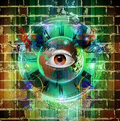 Eye with gears illustration