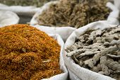 UAE, Dubai, many different spices are for sale at the spice souq in Deira