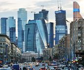 MOSCOW, RUSSIA - JUNE 30, 2014: Moscow international business center Moscow City in evening. The construction started in 1995, costs for the present about $12 billions, and have to be finished in 2017