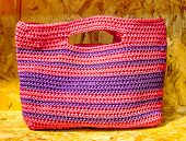 Recycle Color Plastic Handmade Bag On Recycle Compressed Wood Chippings Board