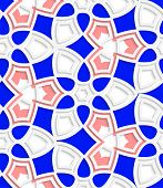 Pink And Blue Geometrical Floral Seamless Pattern