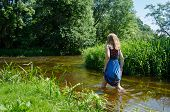 Blonde Girl Blue Mottled Dress Wade Flowing River