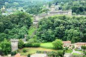 BELLINZONA, SWITZERLAND - JULY 4, 2014: Castello di Montebello seen from Castelgrande. Montebello is