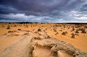 Pinnacles Desert on a stomy day